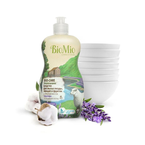 Средство для мытья посуды, овощей и фруктов с эфирным маслом лаванды, экстрактом хлопка и ионами серебра bio mio (Bio Mio)