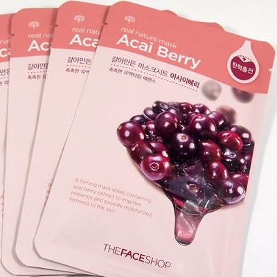 Тканевая маска для лица с экстрактом ягод асаи real nature the face shop (The Face Shop)