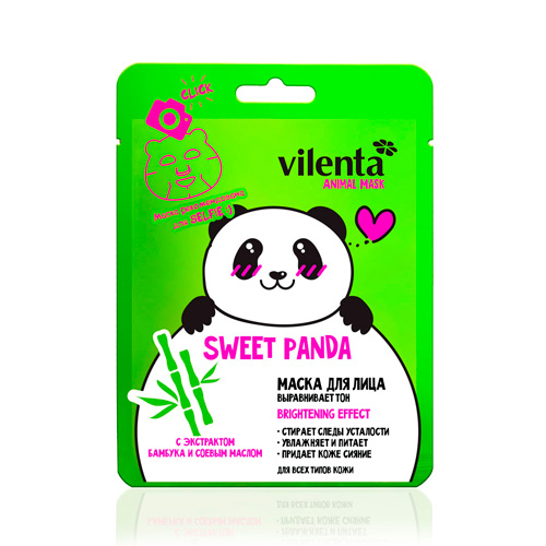 Маска для лица выравнивающая тонус sweet panda с экстрактом бамбука и соевым маслом vilenta (Vilenta)