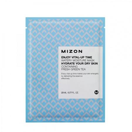 Маска листовая для лица увлажняющая с экстрактом зеленого чая enjoy vital-up time watery moisture mask mizon (MIZON)
