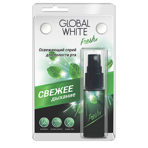 Освежающий спрей для полости рта 15 мл global white (Global White)