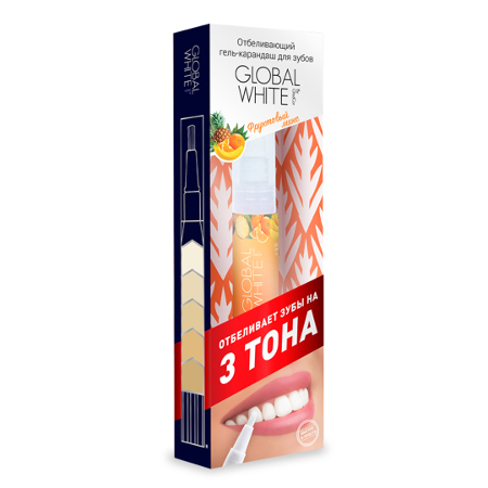 Отбеливающий карандаш-апликатор со вкусом фруктов global white (Global White)