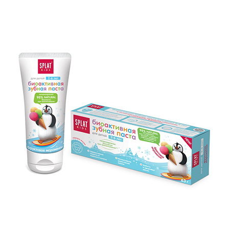Натуральная биоактивная зубная паста для детей от 2 до 6 лет фруктовое мороженое splat kids