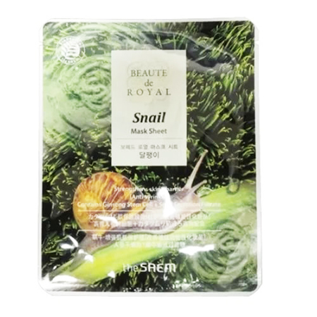 Маска beaute тканевая с экстрактом муцина улитки beaute de royal mask sheet-snail the saem