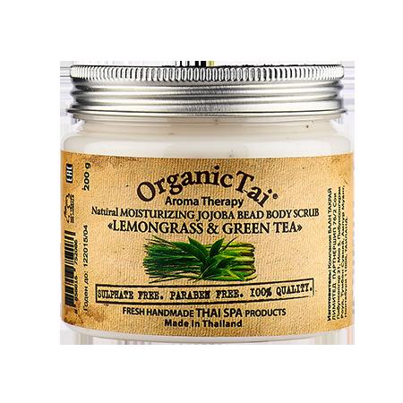 Натуральный увлажняющий скраб для тела с гранулами жожоба лемонграсс и зеленый чай organic tai