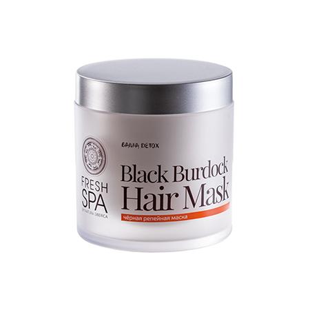 Чёрная репейная маска для роста волос bania detox natura siberica