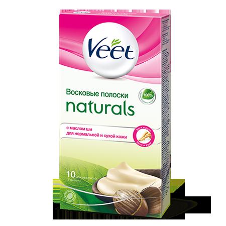Восковые полоски для тела naturals с маслом ши veet