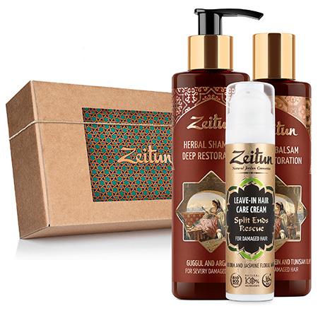 Набор экстренное восстановление волос фито-шампунь, фито-бальзам, крем-уход для волос зейтун
