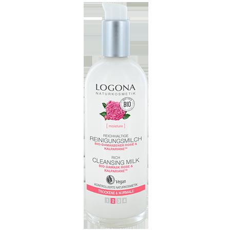Насыщенное молочко для очищения лица с био-дамасской розой и комплексом kalpariane logona