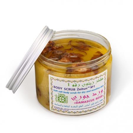 Мягкий солевой скраб для сухой и чувствительной кожи дамасская роза зейтун