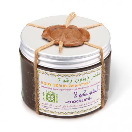 Питательный сахарный скраб для сухой и чувствительной кожи шоколад зейтун