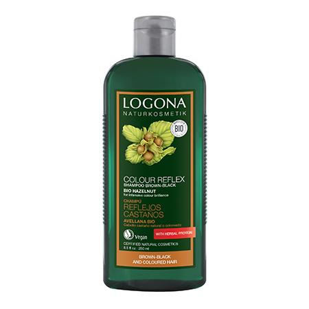 Шампунь для темных волос с лесным орехом color reflex logona, 250 мл