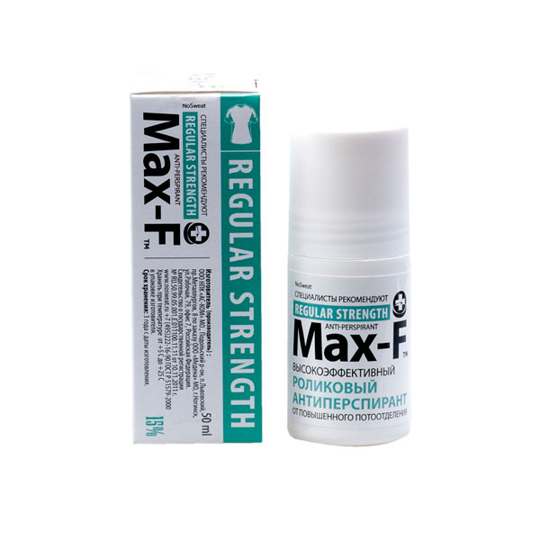 Роликовый антиперспирант от повышенного потоотделения max-f 15% no sweat