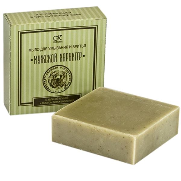 Мыло для умывания и бритья мужской характер с зеленой глиной и маслом можжевельника клеона (Клеона)