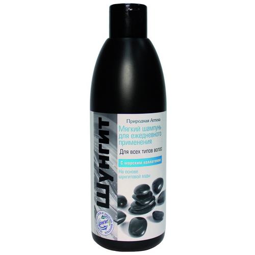 Мягкий шампунь для ежедневного применения для всех типов волос на основе шунгитовой воды, с морским коллагеном (Шунгит)