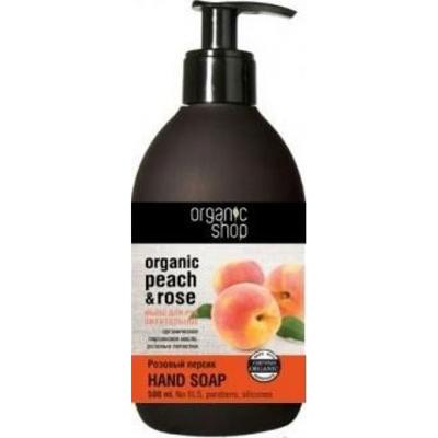 Мыло для рук жидкое питательное розовый персик organic shop