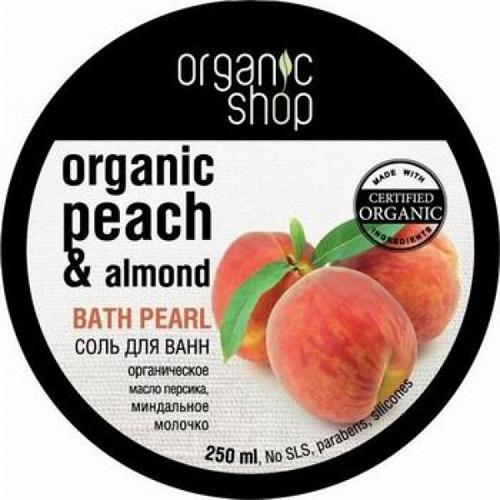 Соль жемчужная для ванн миндальный персик organic shop (Organic Shop)
